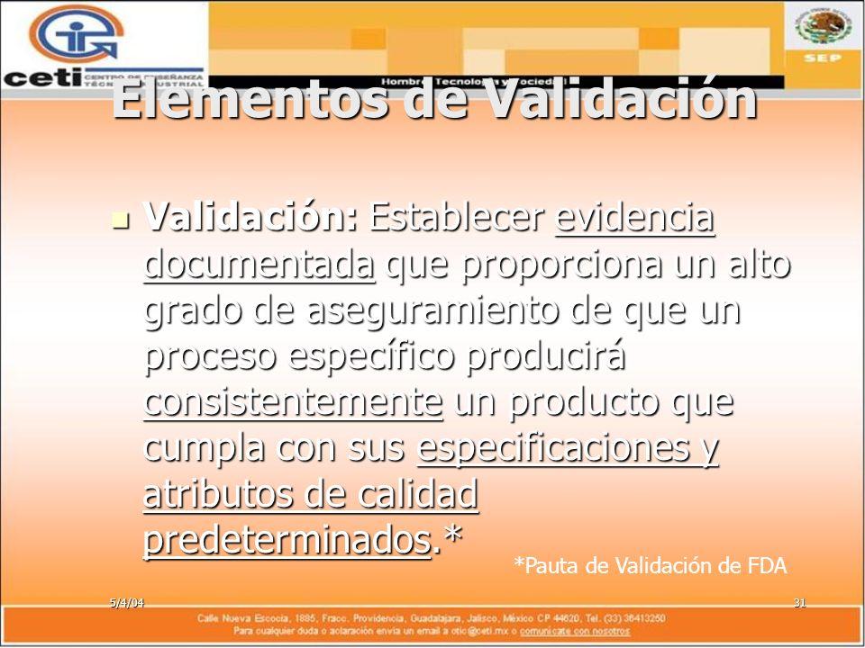 5/4/0431 Elementos de Validación Validación: Establecer evidencia documentada que proporciona un alto grado de aseguramiento de que un proceso específ
