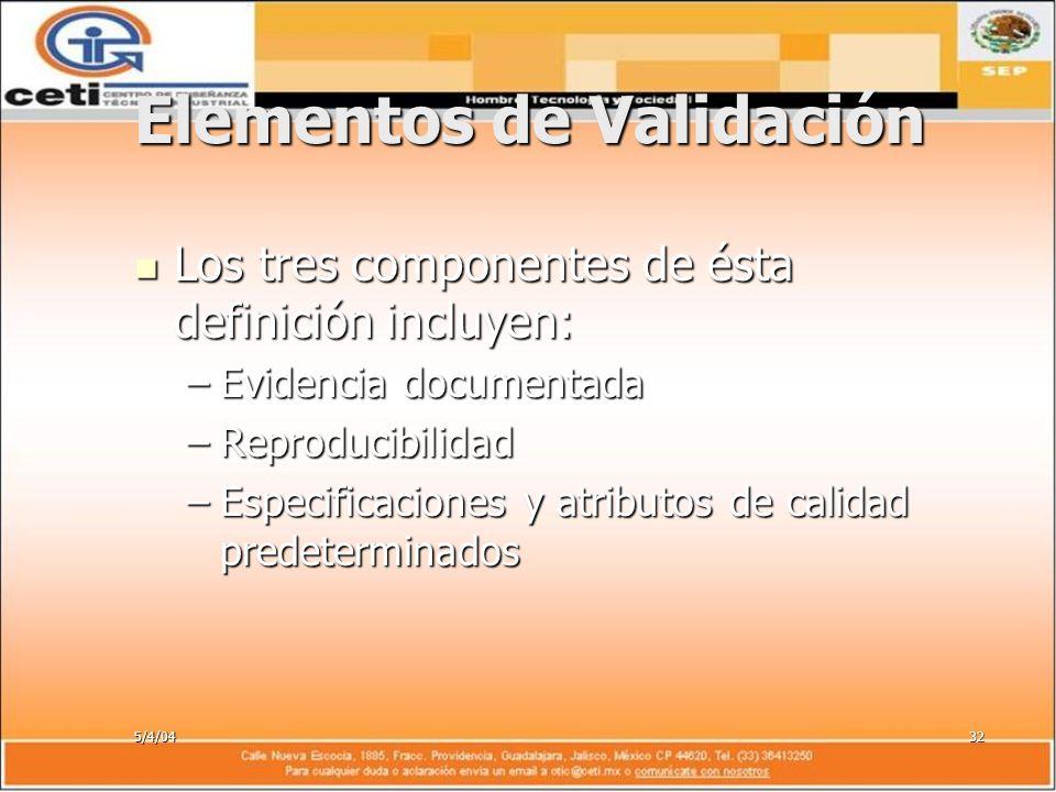 5/4/0432 Elementos de Validación Los tres componentes de ésta definición incluyen: Los tres componentes de ésta definición incluyen: –Evidencia docume