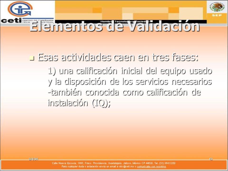 5/4/0443 Elementos de Validación Esas actividades caen en tres fases: Esas actividades caen en tres fases: 1) una calificación inicial del equipo usad