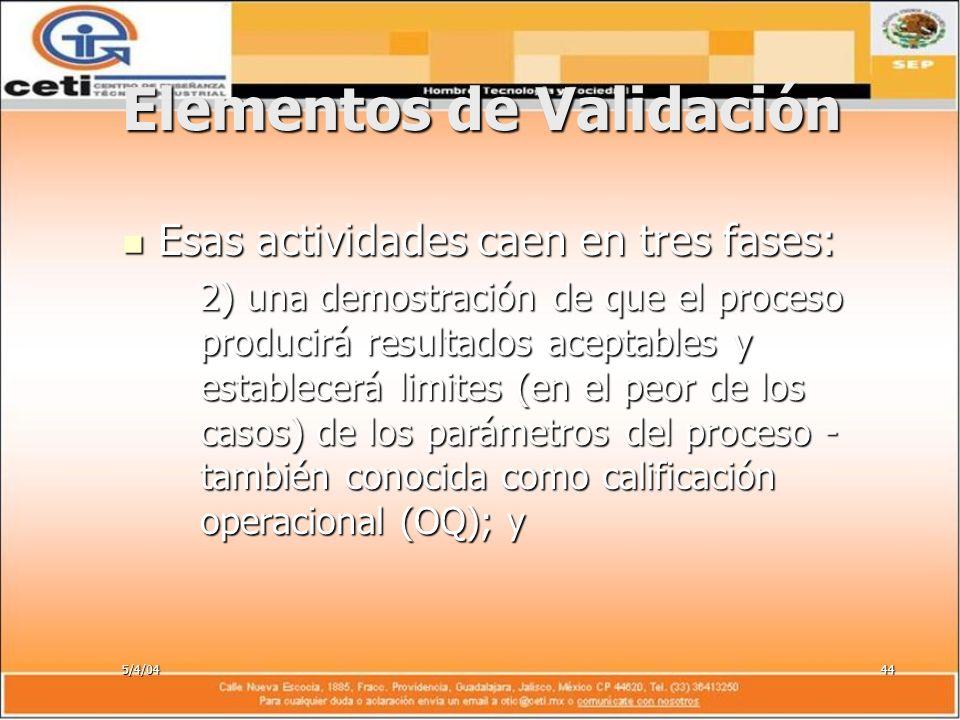 5/4/0444 Elementos de Validación Esas actividades caen en tres fases: Esas actividades caen en tres fases: 2) una demostración de que el proceso produ