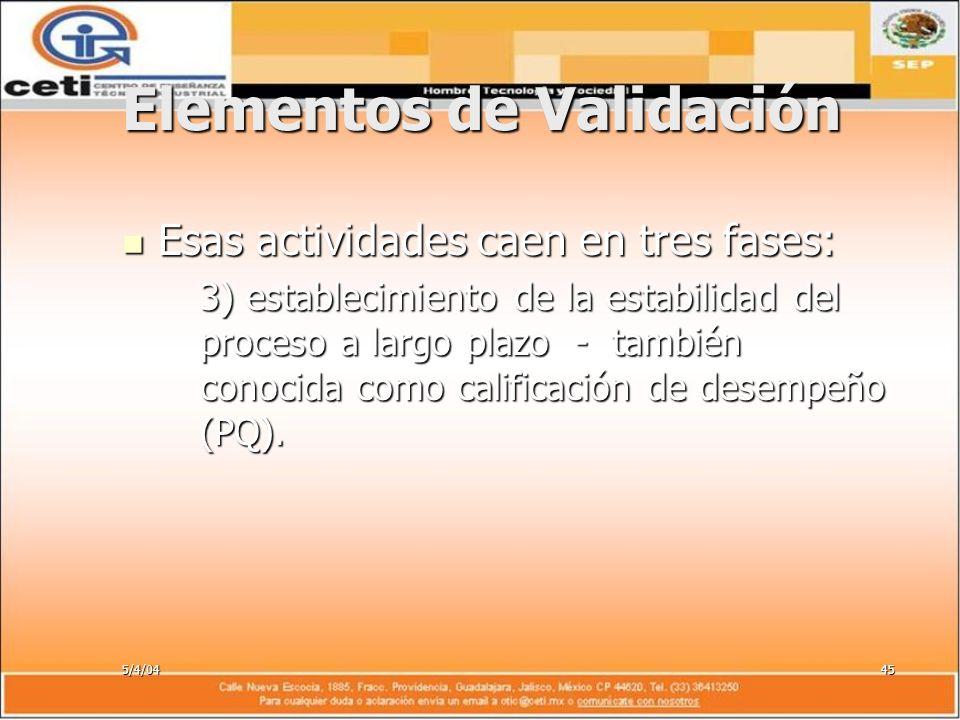 5/4/0445 Elementos de Validación Esas actividades caen en tres fases: Esas actividades caen en tres fases: 3) establecimiento de la estabilidad del pr