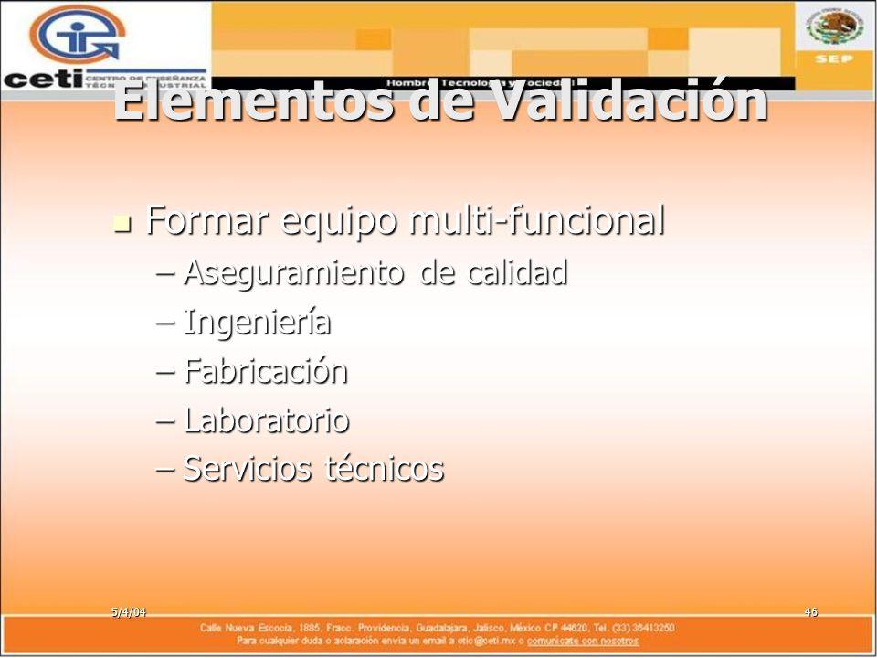 5/4/0446 Elementos de Validación Formar equipo multi-funcional Formar equipo multi-funcional –Aseguramiento de calidad –Ingeniería –Fabricación –Labor