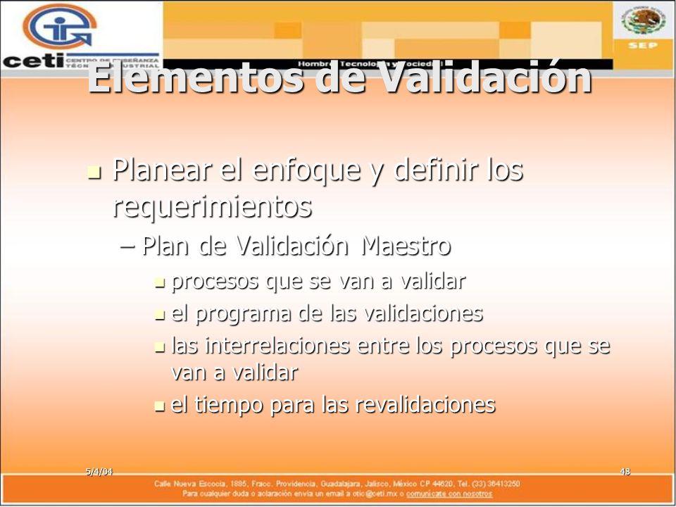5/4/0448 Elementos de Validación Planear el enfoque y definir los requerimientos Planear el enfoque y definir los requerimientos –Plan de Validación M