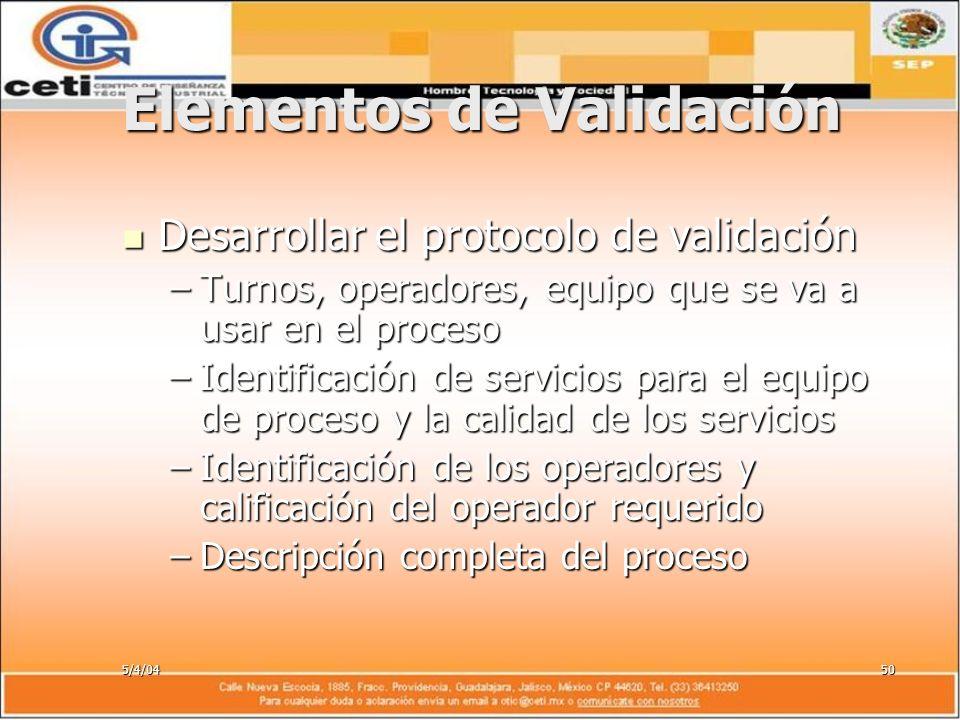 5/4/0450 Elementos de Validación Desarrollar el protocolo de validación Desarrollar el protocolo de validación –Turnos, operadores, equipo que se va a