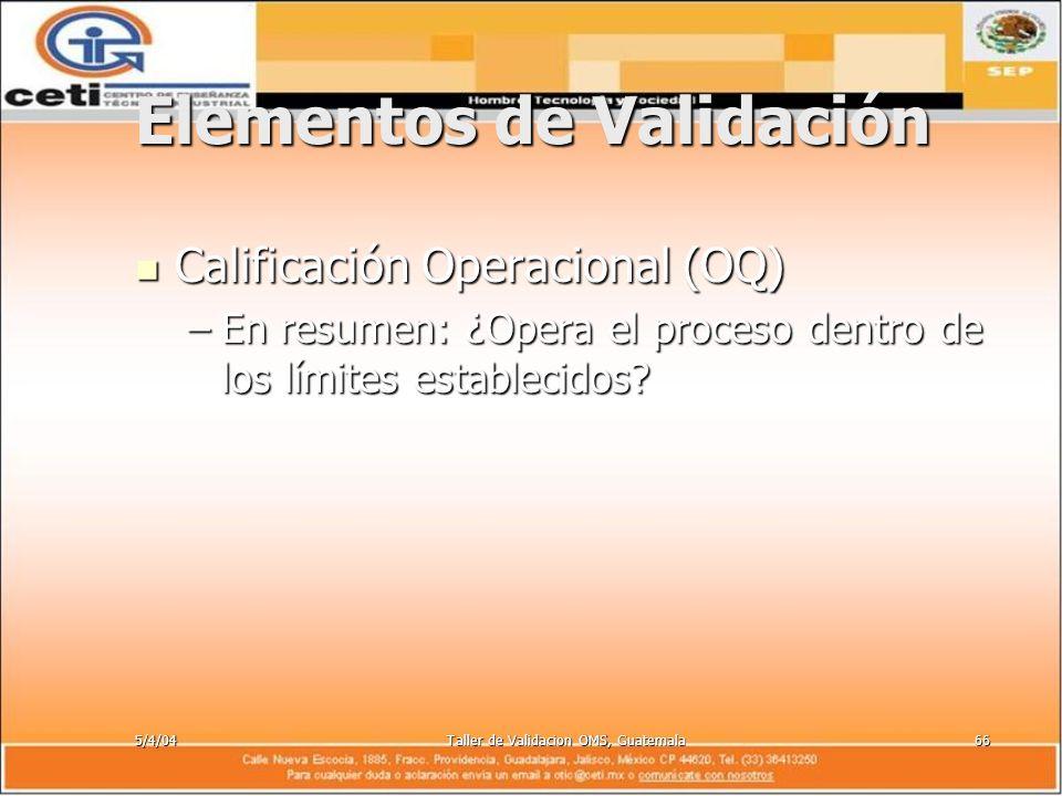 5/4/04Taller de Validacion OMS, Guatemala66 Elementos de Validación Calificación Operacional (OQ) Calificación Operacional (OQ) –En resumen: ¿Opera el