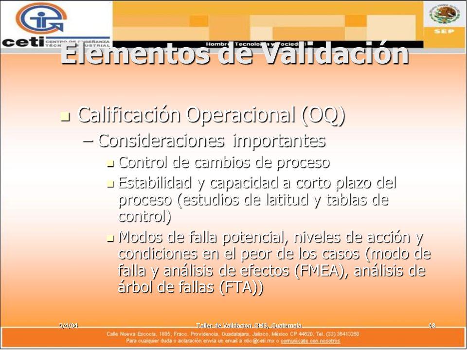5/4/04Taller de Validacion OMS, Guatemala68 Elementos de Validación Calificación Operacional (OQ) Calificación Operacional (OQ) –Consideraciones impor