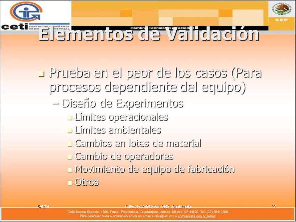 5/4/04Taller de Validacion OMS, Guatemala73 Elementos de Validación Prueba en el peor de los casos (Para procesos dependiente del equipo) Prueba en el