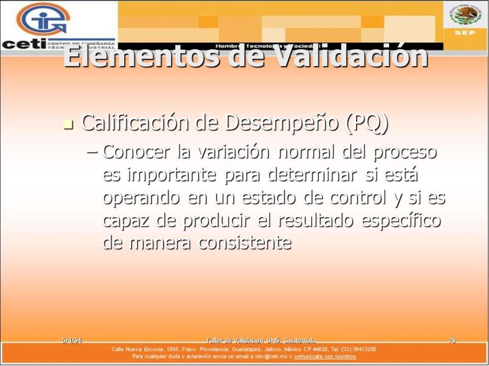 5/4/04Taller de Validacion OMS, Guatemala79 Elementos de Validación Calificación de Desempeño (PQ) Calificación de Desempeño (PQ) –Conocer la variació