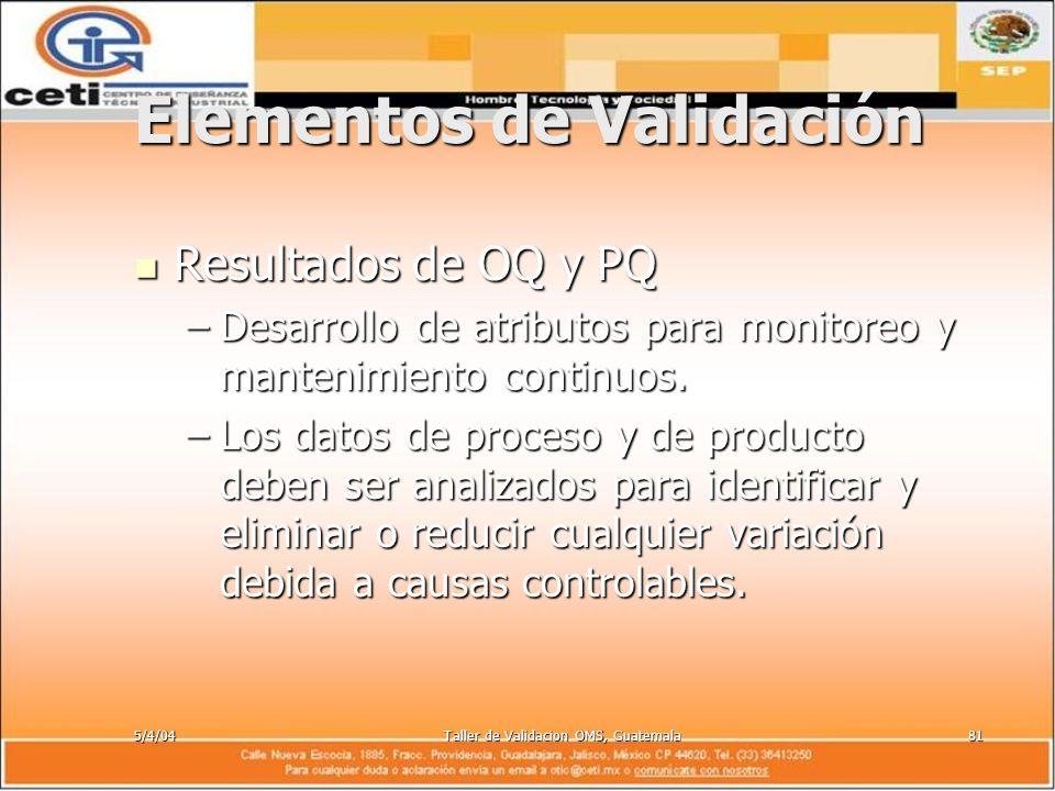 5/4/04Taller de Validacion OMS, Guatemala81 Elementos de Validación Resultados de OQ y PQ Resultados de OQ y PQ –Desarrollo de atributos para monitore