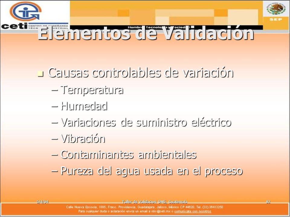 5/4/04Taller de Validacion OMS, Guatemala82 Elementos de Validación Causas controlables de variación Causas controlables de variación –Temperatura –Hu