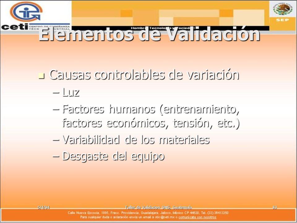 5/4/04Taller de Validacion OMS, Guatemala83 Elementos de Validación Causas controlables de variación Causas controlables de variación –Luz –Factores h