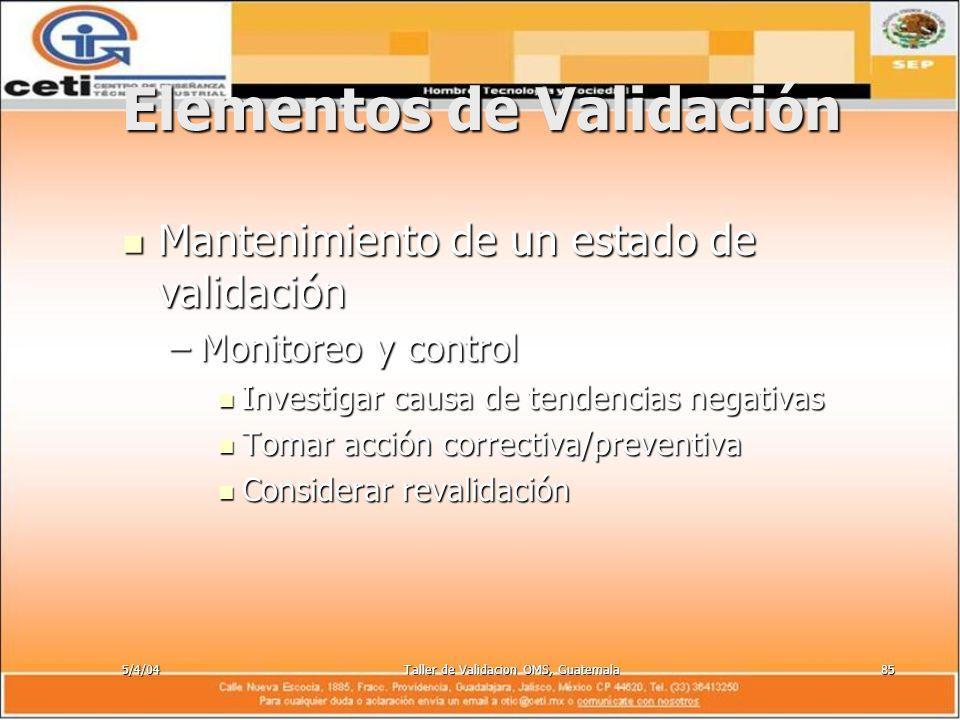 5/4/04Taller de Validacion OMS, Guatemala85 Elementos de Validación Mantenimiento de un estado de validación Mantenimiento de un estado de validación
