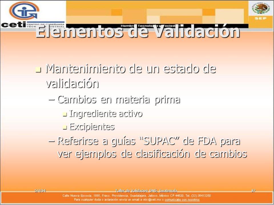 5/4/04Taller de Validacion OMS, Guatemala87 Elementos de Validación Mantenimiento de un estado de validación Mantenimiento de un estado de validación