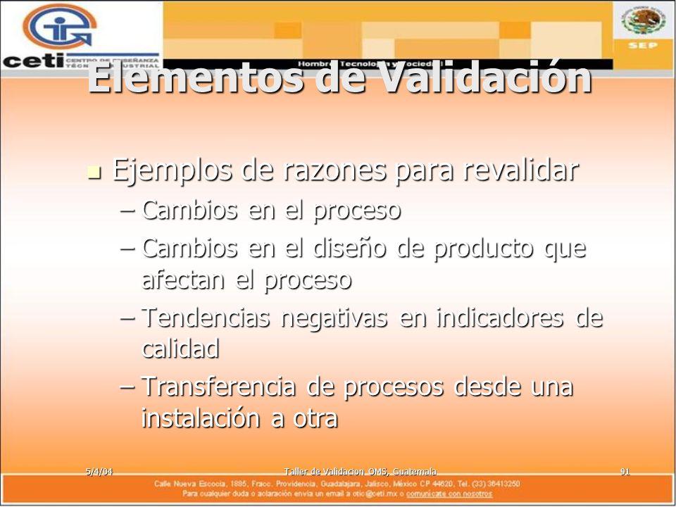 5/4/04Taller de Validacion OMS, Guatemala91 Elementos de Validación Ejemplos de razones para revalidar Ejemplos de razones para revalidar –Cambios en