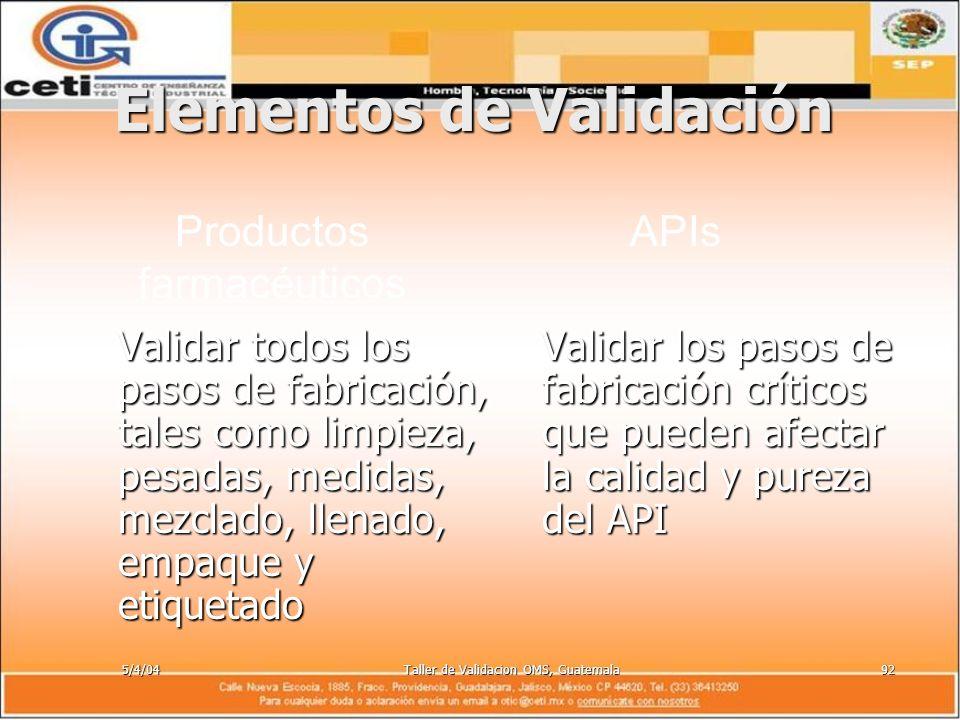 5/4/04Taller de Validacion OMS, Guatemala92 Elementos de Validación Validar todos los pasos de fabricación, tales como limpieza, pesadas, medidas, mez