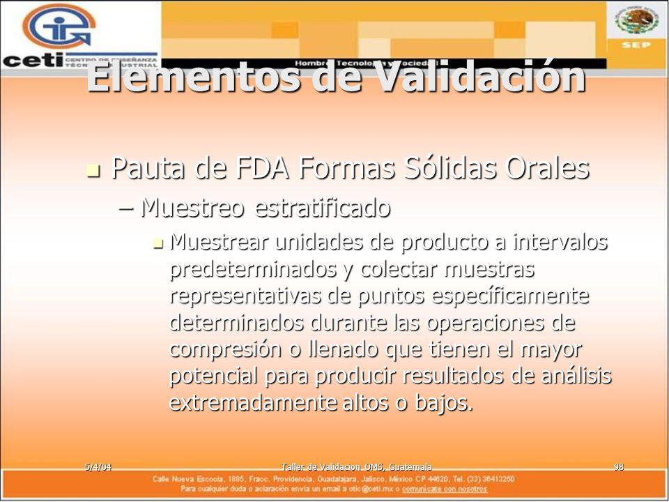 5/4/04Taller de Validacion OMS, Guatemala98 Elementos de Validación Pauta de FDA Formas Sólidas Orales Pauta de FDA Formas Sólidas Orales –Muestreo es