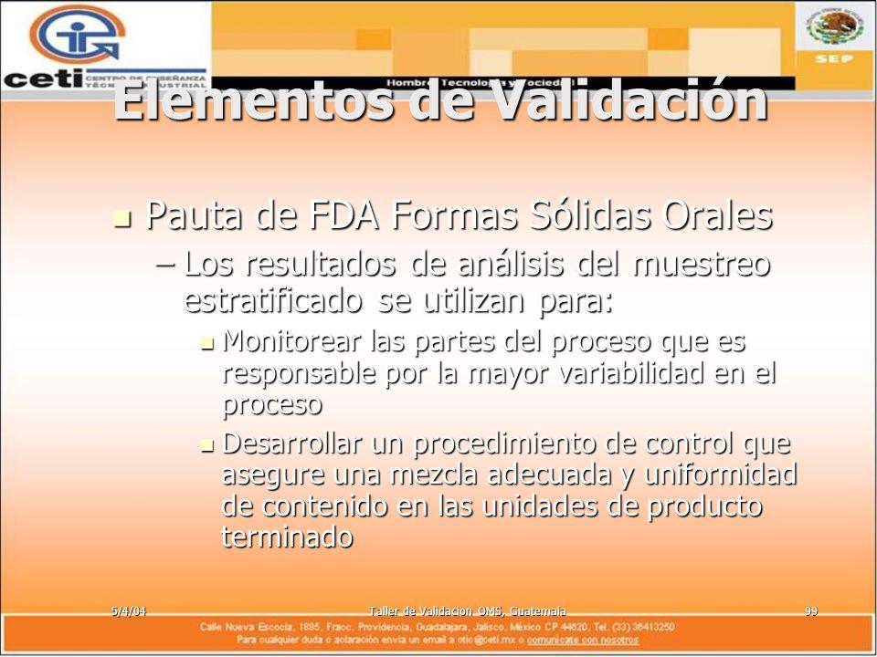 5/4/04Taller de Validacion OMS, Guatemala99 Elementos de Validación Pauta de FDA Formas Sólidas Orales Pauta de FDA Formas Sólidas Orales –Los resulta