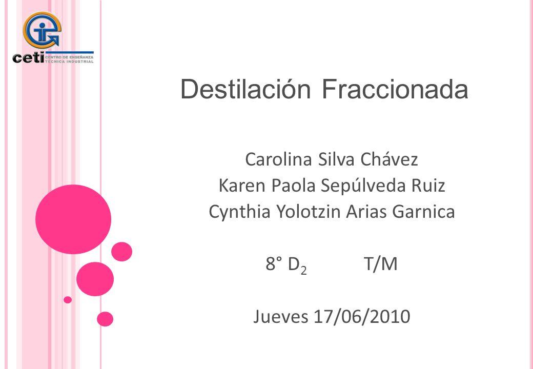Destilación Fraccionada Carolina Silva Chávez Karen Paola Sepúlveda Ruiz Cynthia Yolotzin Arias Garnica 8° D 2 T/M Jueves 17/06/2010