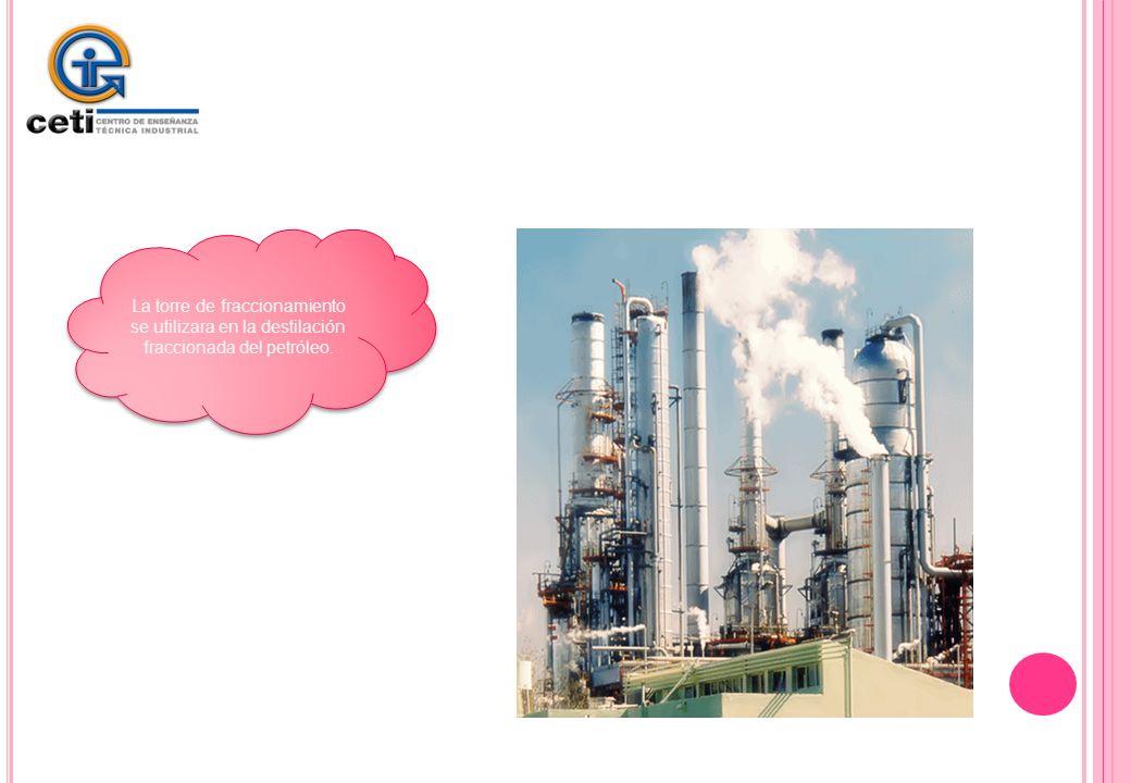 La torre de fraccionamiento se utilizara en la destilación fraccionada del petróleo.