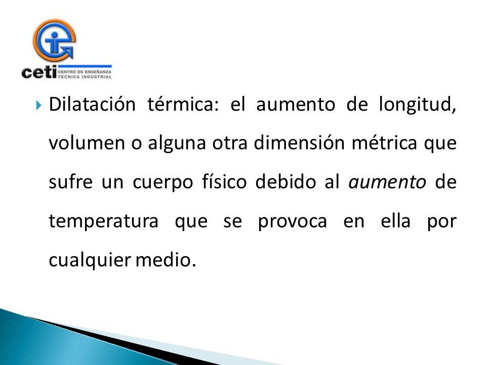 Dilatación térmica: el aumento de longitud, volumen o alguna otra dimensión métrica que sufre un cuerpo físico debido al aumento de temperatura que se