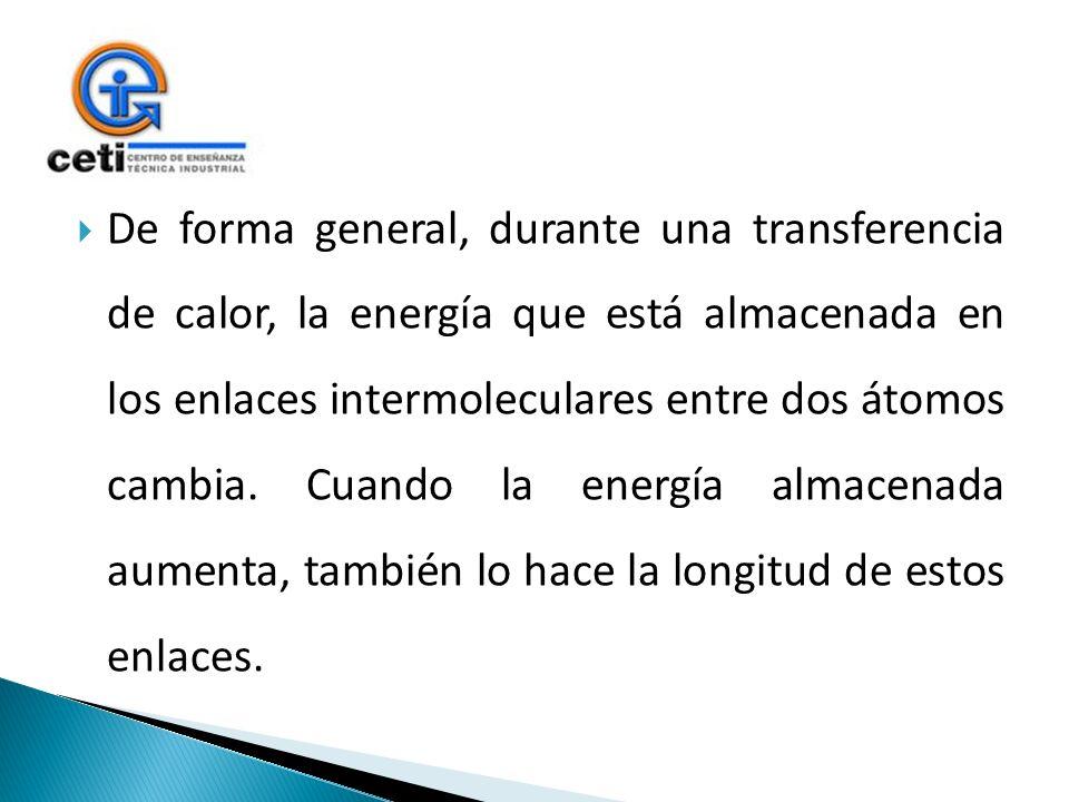 De forma general, durante una transferencia de calor, la energía que está almacenada en los enlaces intermoleculares entre dos átomos cambia. Cuando l