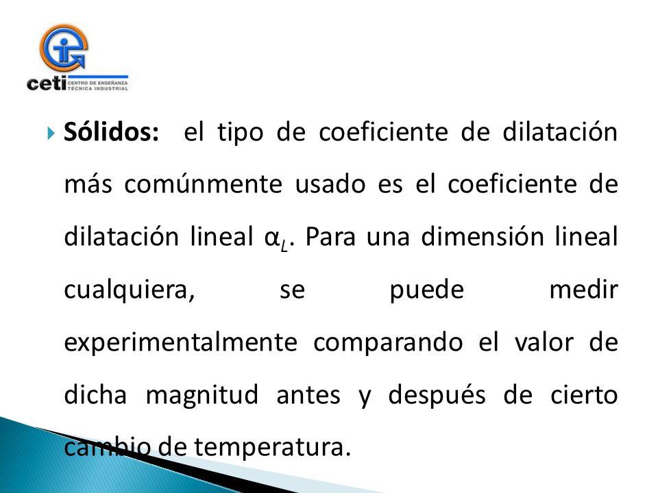 Sólidos: el tipo de coeficiente de dilatación más comúnmente usado es el coeficiente de dilatación lineal α L. Para una dimensión lineal cualquiera, s
