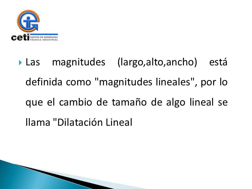 Las magnitudes (largo,alto,ancho) está definida como