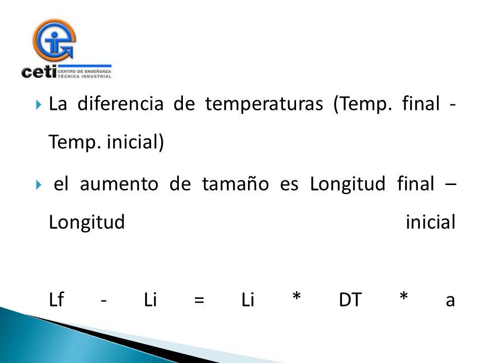 La diferencia de temperaturas (Temp. final - Temp. inicial) el aumento de tamaño es Longitud final – Longitud inicial Lf - Li = Li * DT * a