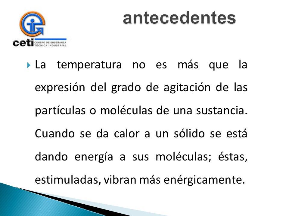 La temperatura no es más que la expresión del grado de agitación de las partículas o moléculas de una sustancia. Cuando se da calor a un sólido se est