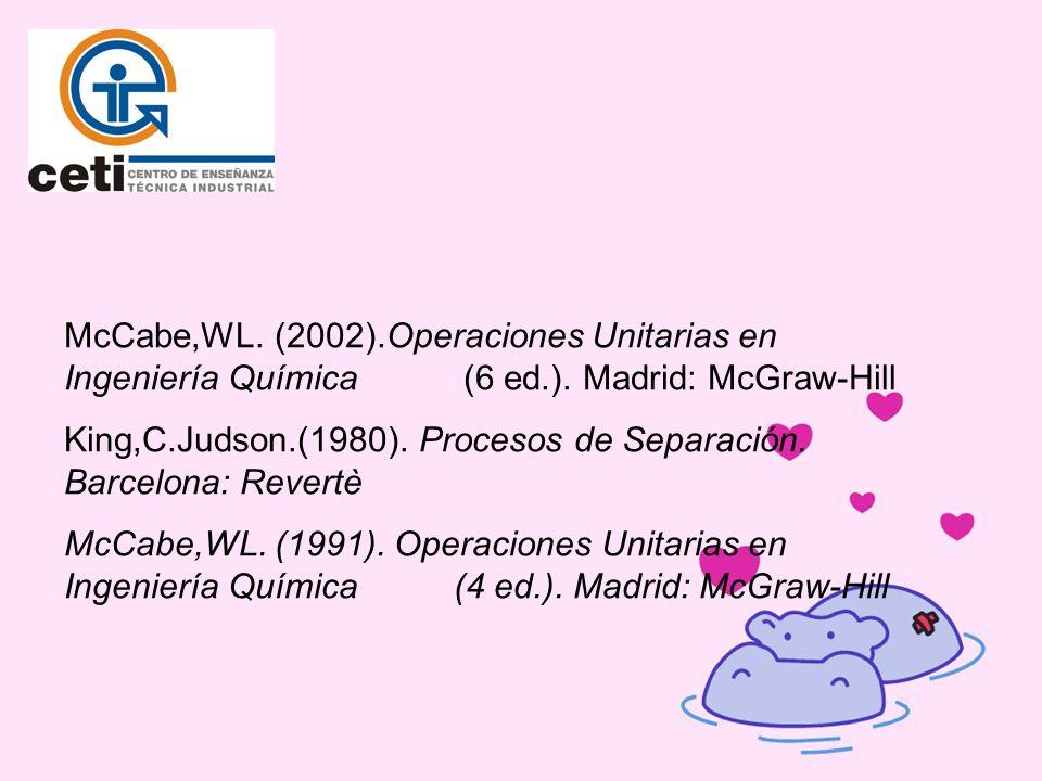 McCabe,WL. (2002).Operaciones Unitarias en Ingeniería Química (6 ed.). Madrid: McGraw-Hill King,C.Judson.(1980). Procesos de Separación. Barcelona: Re