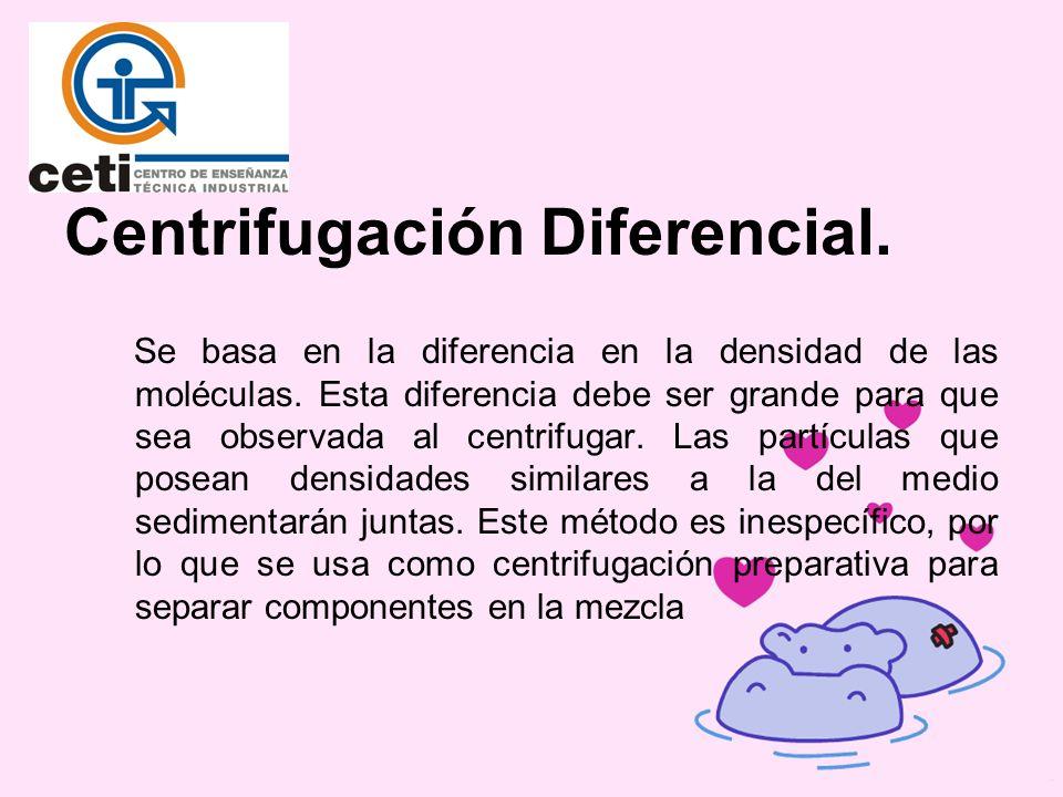 Centrifugación Diferencial. Se basa en la diferencia en la densidad de las moléculas. Esta diferencia debe ser grande para que sea observada al centri