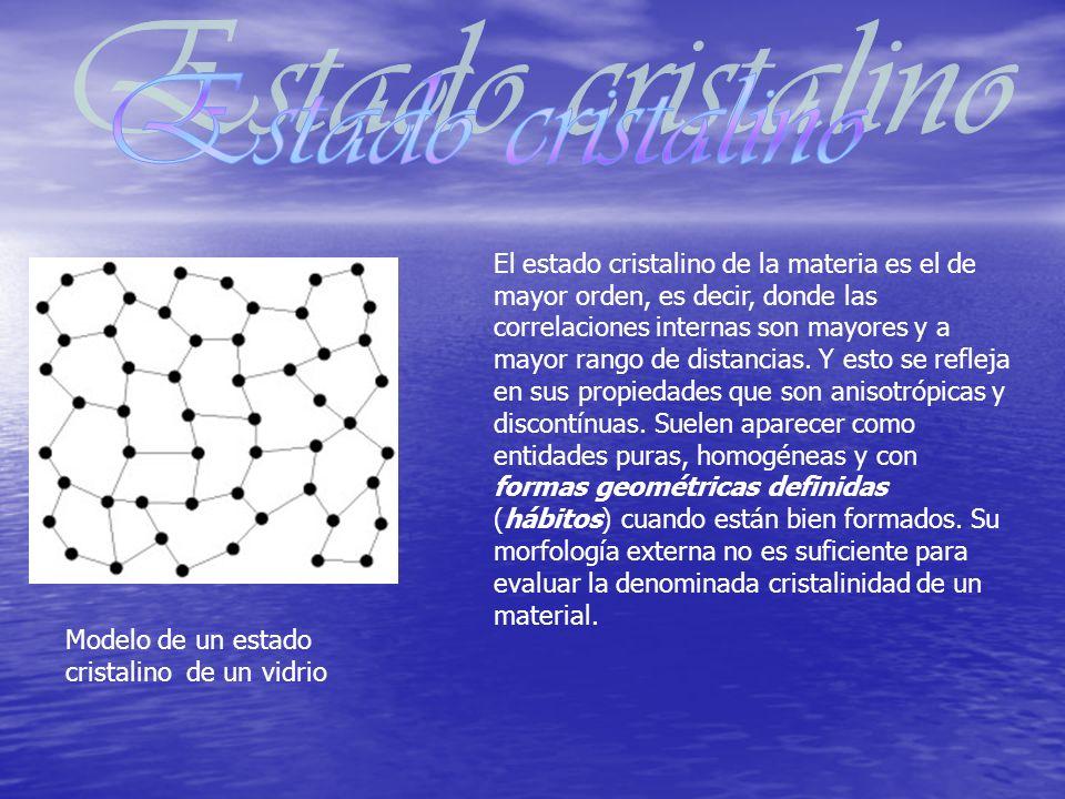 El estado cristalino de la materia es el de mayor orden, es decir, donde las correlaciones internas son mayores y a mayor rango de distancias. Y esto