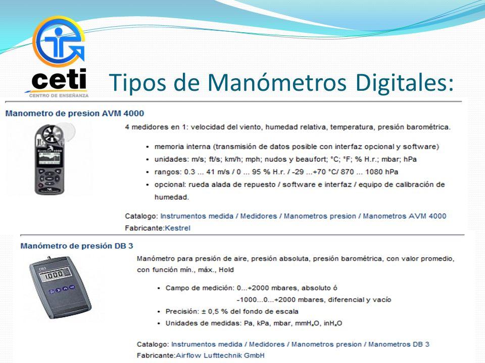 Tipos de Manómetros Digitales: