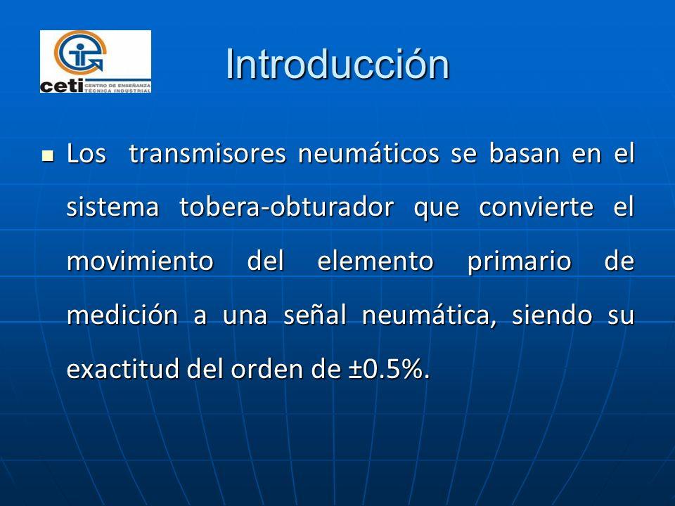 Introducción Los transmisores neumáticos se basan en el sistema tobera-obturador que convierte el movimiento del elemento primario de medición a una s