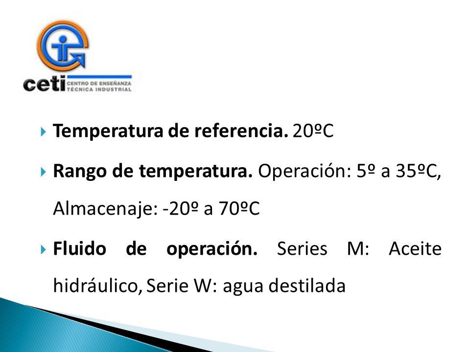 Temperatura de referencia. 20ºC Rango de temperatura. Operación: 5º a 35ºC, Almacenaje: -20º a 70ºC Fluido de operación. Series M: Aceite hidráulico,