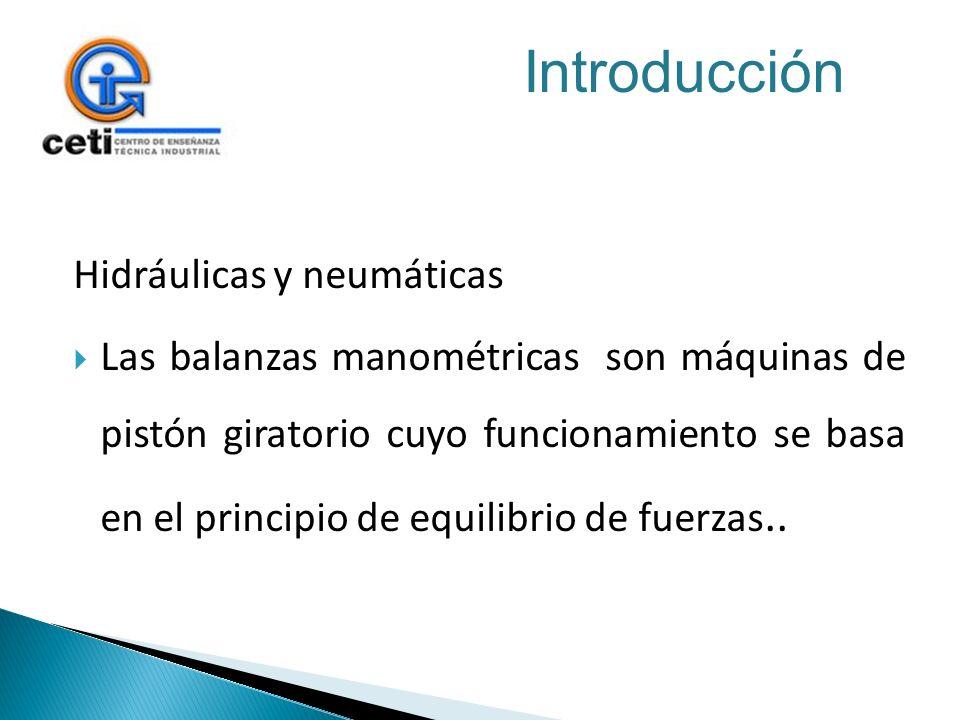 Hidráulicas y neumáticas Las balanzas manométricas son máquinas de pistón giratorio cuyo funcionamiento se basa en el principio de equilibrio de fuerz