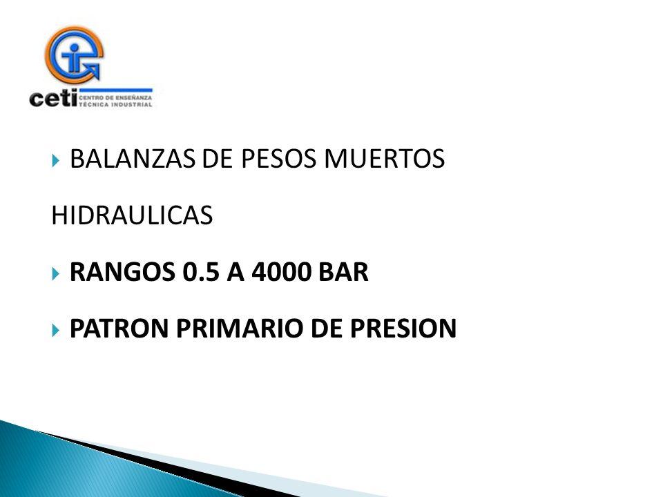 BALANZAS DE PESOS MUERTOS HIDRAULICAS RANGOS 0.5 A 4000 BAR PATRON PRIMARIO DE PRESION