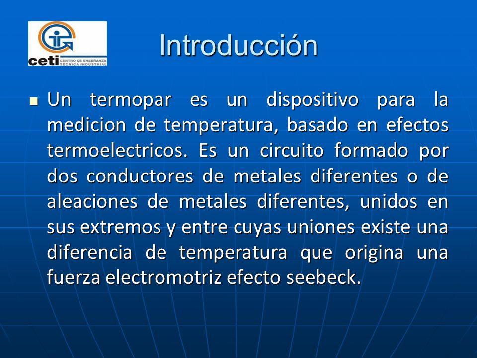 Introducción Un termopar es un dispositivo para la medicion de temperatura, basado en efectos termoelectricos. Es un circuito formado por dos conducto