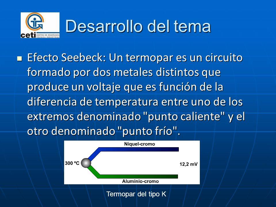 Desarrollo del tema Efecto Seebeck: Un termopar es un circuito formado por dos metales distintos que produce un voltaje que es función de la diferenci