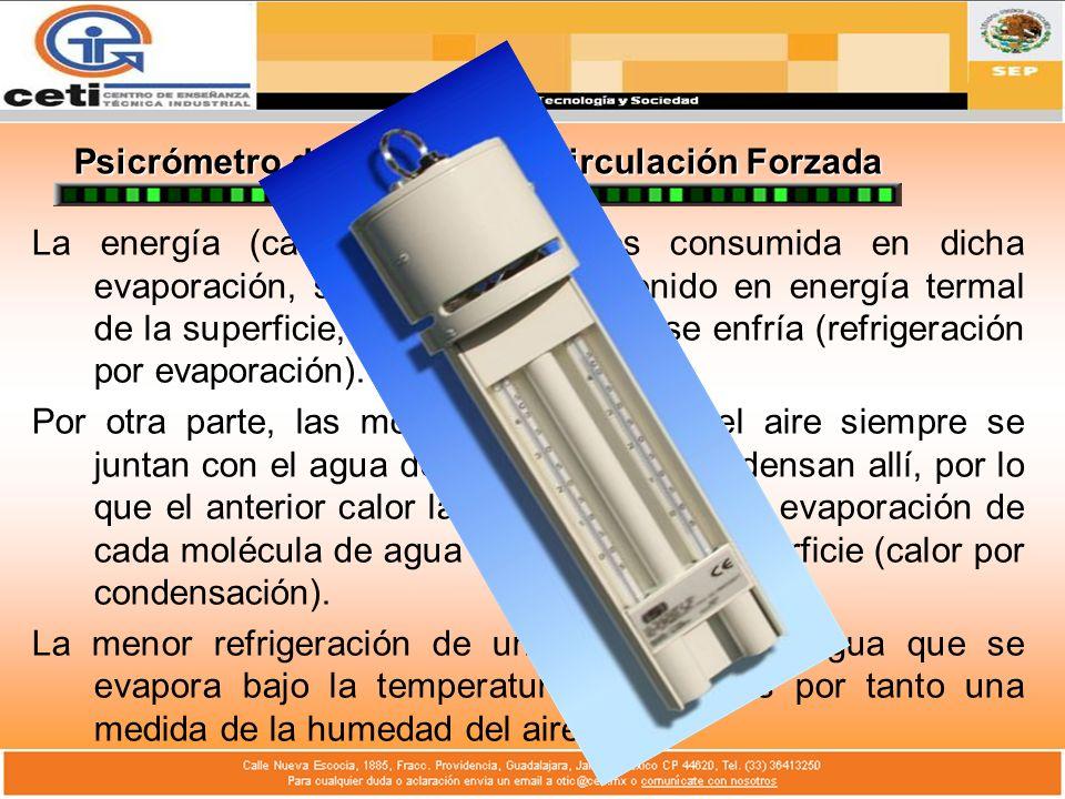 Psicrómetro de Asmann de Circulación Forzada La energía (calor latente) que es consumida en dicha evaporación, se deduce del contenido en energía term