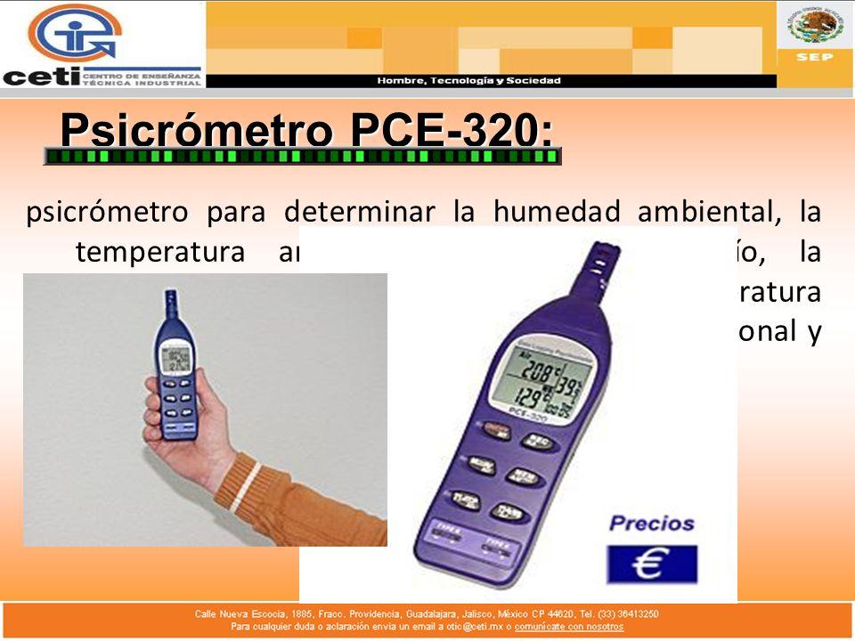 Psicrómetro PCE-320: psicrómetro para determinar la humedad ambiental, la temperatura ambiental, el punto de rocío, la temperatura de esfera húmeda y