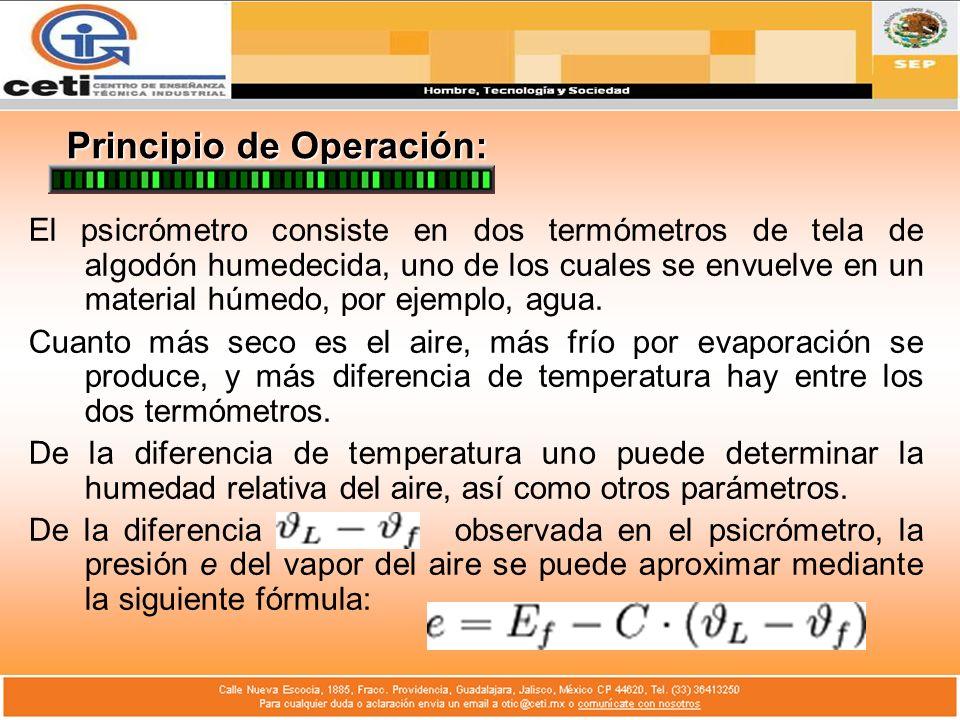 Principio de Operación: El psicrómetro consiste en dos termómetros de tela de algodón humedecida, uno de los cuales se envuelve en un material húmedo,