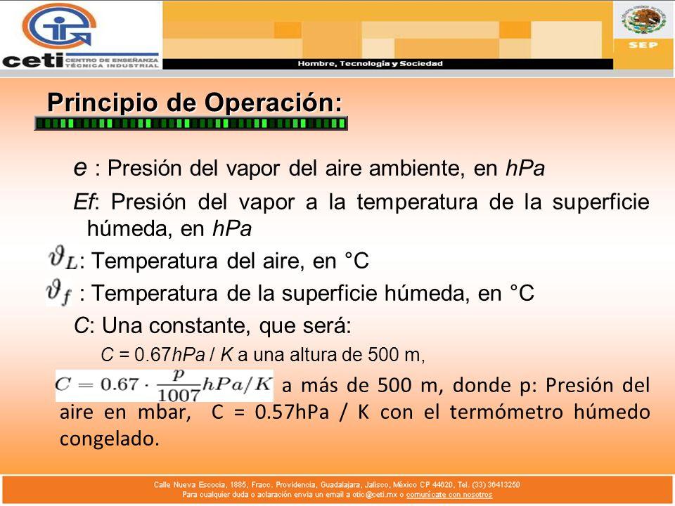 Principio de Operación: e : Presión del vapor del aire ambiente, en hPa Ef: Presión del vapor a la temperatura de la superficie húmeda, en hPa : Tempe