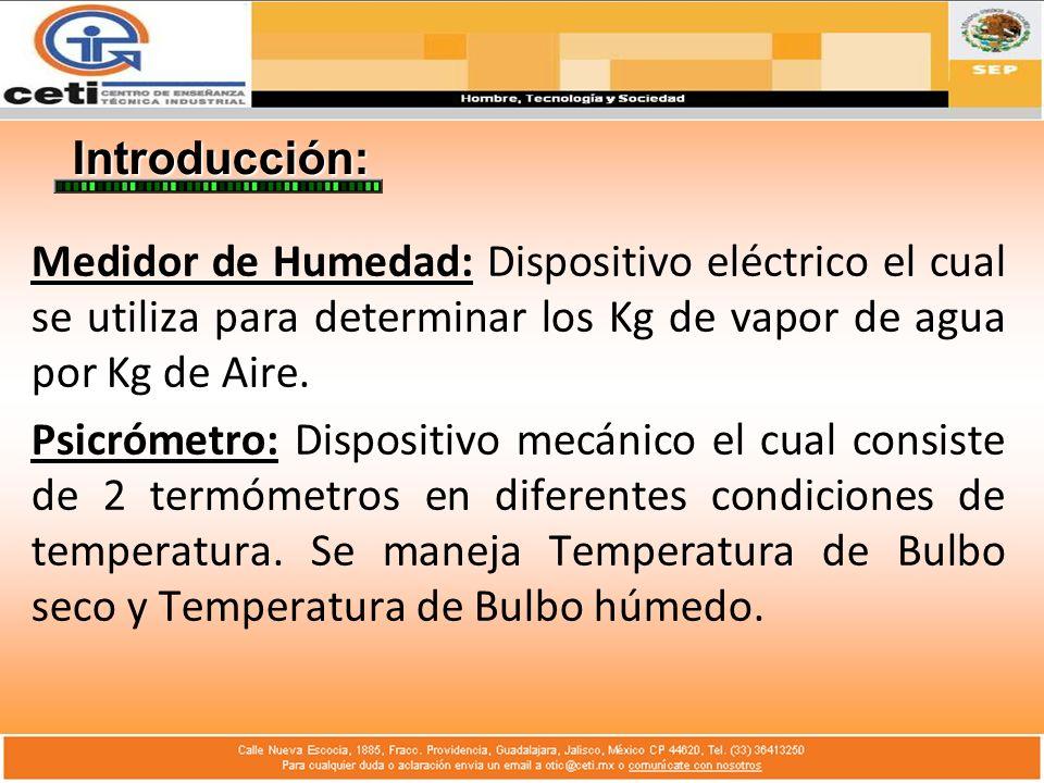 Introducción: Medidor de Humedad: Dispositivo eléctrico el cual se utiliza para determinar los Kg de vapor de agua por Kg de Aire. Psicrómetro: Dispos