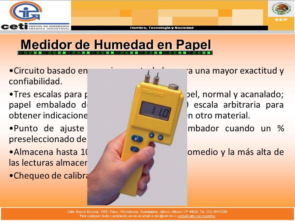 Medidor de Humedad en Papel Circuito basado en un microcontrolador para una mayor exactitud y confiabilidad. Tres escalas para probar varios tipos de