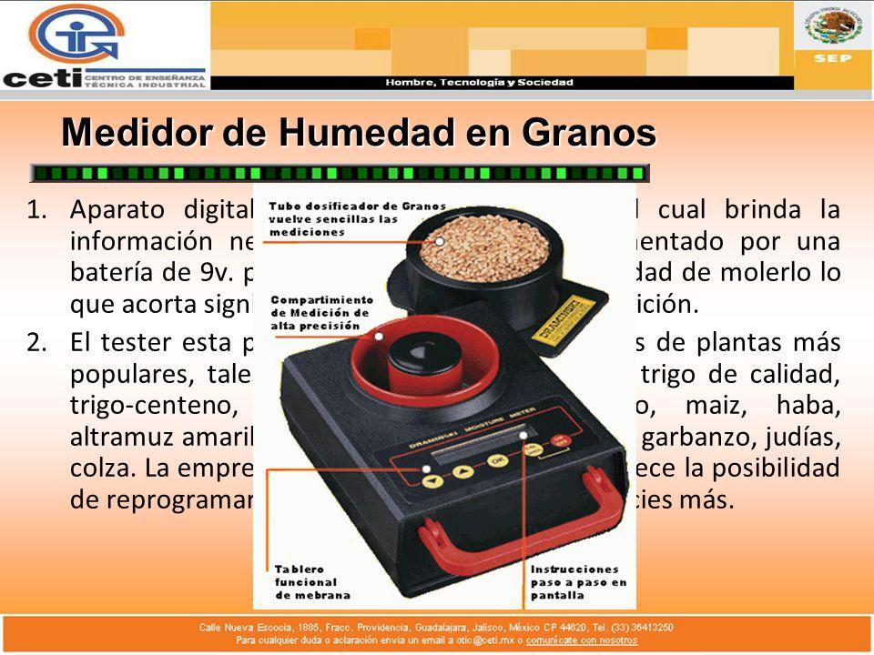 Medidor de Humedad en Heno y Paja Es manual, alimentado por una batería de 9v.