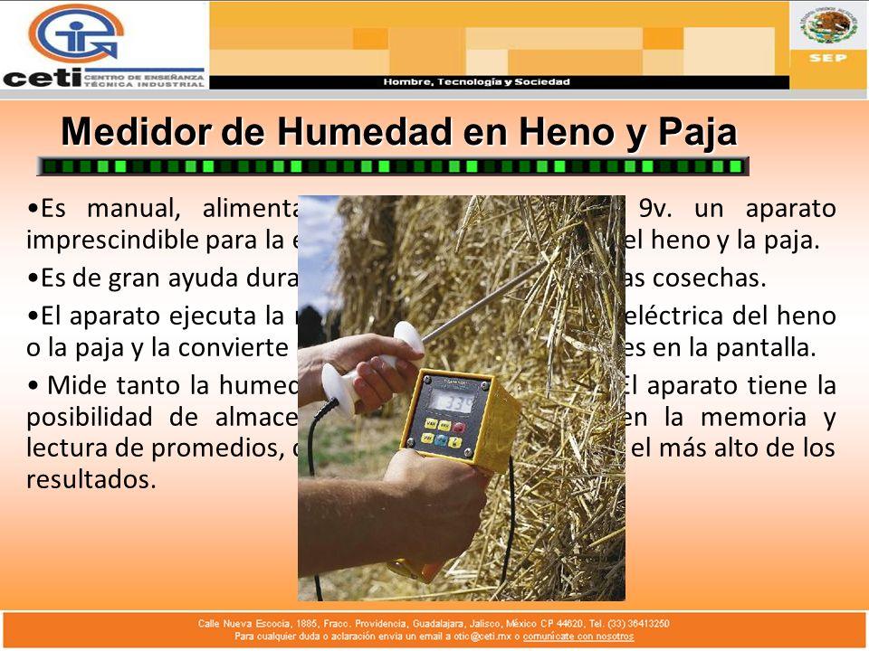 Medidor de Humedad en Heno y Paja Es manual, alimentado por una batería de 9v. un aparato imprescindible para la evaluación de la humedad del heno y l