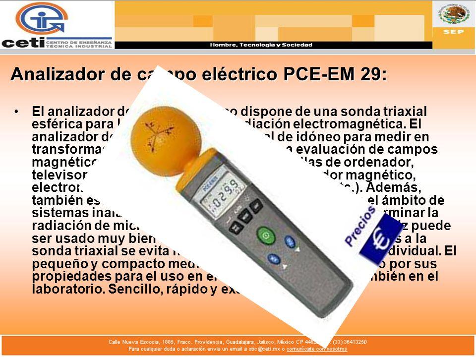 Analizador de campo eléctrico PCE-EM 29: El analizador de campo eléctrico dispone de una sonda triaxial esférica para la detección de la radiación ele