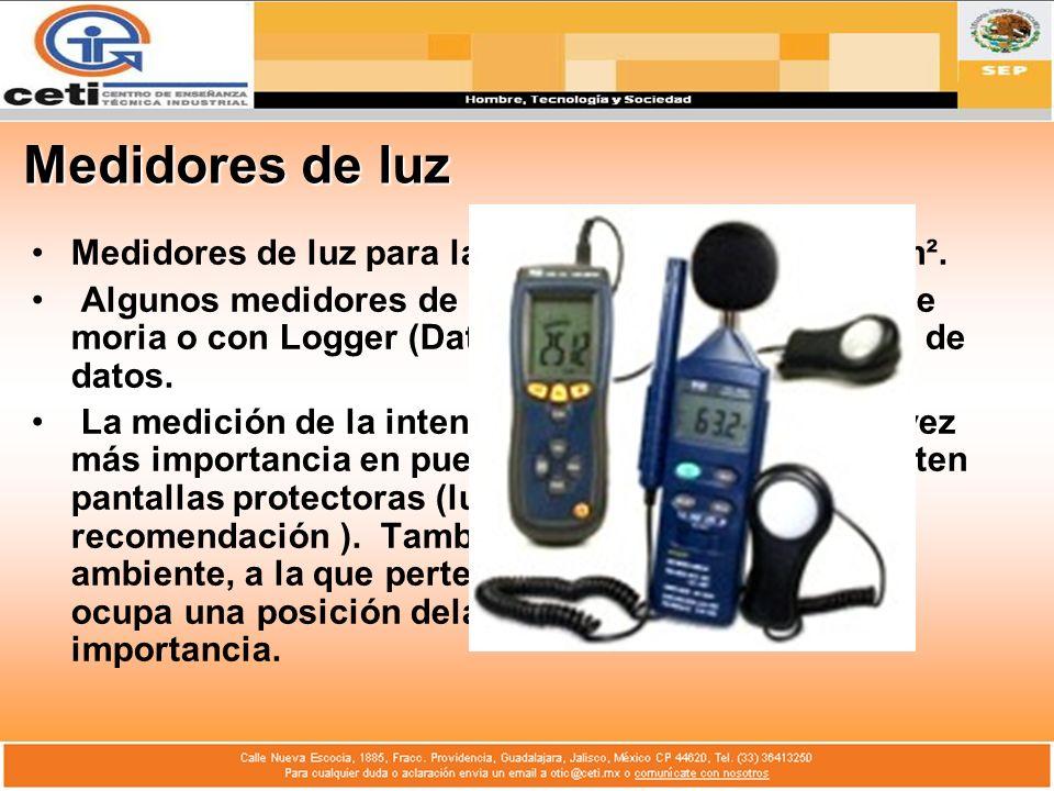 Medidores de luz Medidores de luz para la medición en lux, fc o cd/m². Algunos medidores de luz están equipados con me moria o con Logger (Datalogger)