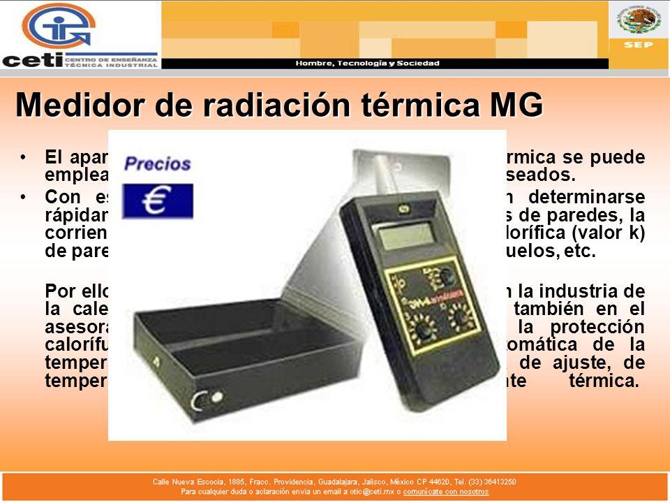 Medidor de radiación térmica MG El aparato para penetración del calor y corriente térmica se puede emplear en las superficies y en los componentes des